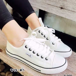 รองเท้าผ้าใบแฟชั่นสีดำแถบขาว ผ้าแคนวาส รุ่นคลาสสิค (สีดำแถบขาว )