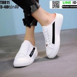 รองเท้าผ้าใบแฟชั่นเปิดท้าย งานนำเข้า100% ST8811-BLK [สีดำ]
