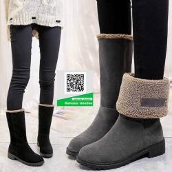 รองเท้าบูทยาวสีดำ เสริมส้น พับได้ (สีดำ )
