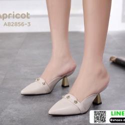 รองเท้าส้นเข็มเปิดส้น หัวแหลม ส้นทอง A82856-3-APR [สีแอปริคอท]