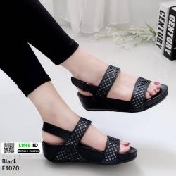 รองเท้าสุขภาพ รัดข้อ F1070-ดำ [สีดำ]
