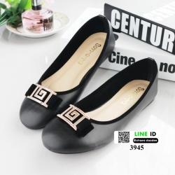 รองเท้าคัชชูส้นเตี้ย แต่งอะไหล่สีเงินด้านหน้า 3945-BLACK [สีดำ]