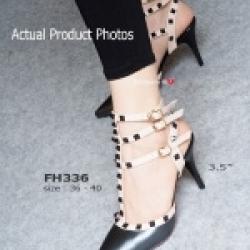 รองเท้าส้นสูงรัดข้อ สไตล์VALENTINO (สีดำ )