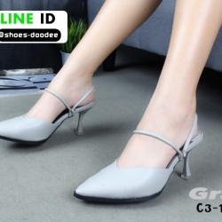 รองเท้าเปิดส้น Zara style หัวแหลม C3-12-GRY [สีเทา]