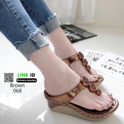 รองเท้าส้นเตารีดแบบคีบ 068-น้ำตาล [สีน้ำตาล ]