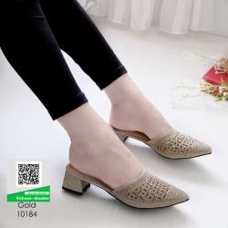 รองเท้าหัวแหลม สไตล์ซาร่าห์ 10184-ทอง [สีทอง]