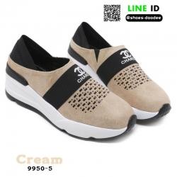 รองเท้าผ้าใบแฟชั่น chanel sneaker 9950-5-CRE [สีครีม]