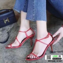รองเท้าส้นเข็มรัดส้น สไตล์CELINE G-1431-RED [สีแดง]