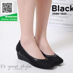 รองเท้าคัทชูส้นเตารีดสีดำ แต่งขอบหนังนิ่ม (สีดำ )