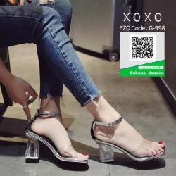 รองเท้าส้นตันรัดข้อ สีใส ส้นแก้ว (สีใส )