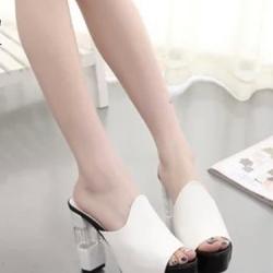 รองเท้าส้นสูงสีขาว แฟชั่นแบบสวม ดีไซน์สวยโดดเด่น แบบเรียบหรูดูดี ใส่กระชับเรียวเท้า เพิ่มสีสันที่ส้นรองเท้าเก๋ๆ สูงหน้า3.3ซม. ส้นสูง11 ซม.