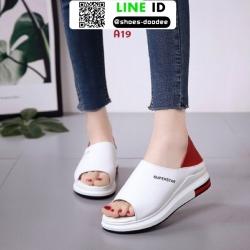 รองเท้าส้นเตี้ยรหุ้มส้น เปิดหน้า A19-RED [สีแดง]
