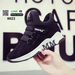 รองเท้าผ้าใบสไตล์เกาหลี 0023-BLACK [สีดำ]