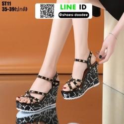 รองเท้าเปิดส้นรัดข้อส้นเตารีด ST11-BLK [สีดำ]