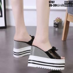 รองเท้าแบบสวมส้นเตารีด งานนำเข้า100% ST07-BLK [สีดำ]