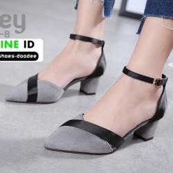 รองเท้าคัชชูส้นสูงรัดส้น วัสดุผ้าสักหลาด คาดริบบิ้นสีดำ 8363-8-GRY [สีเทา]
