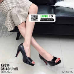 รองเท้าคัชชูส้นสูงเปิดหน้า K2413-BLK [สีดำ]