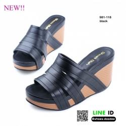 รองเท้าสไตล์ลำลองแบบสวมวัสดุเป็นหนังพียูอย่างดี 981-118-BLK [สีดำ]