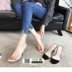 รองเท้าส้นเข็มเปิดส้น หน้าพลาสติกใส PS14-CRE [สีครีม]
