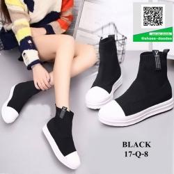 รองเท้าผ้าใบหุ้มข้อสีดำ ผ้าไหมพรม (สีดำ )