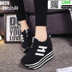 รองเท้าผ้าใบเสริมส้น ST8029-BLK [สีดำ]
