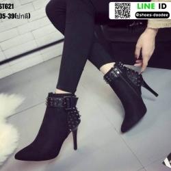 รองเท้าบุทส้นเข็มหุ้มข้อ ST621-BLK [สีดำ]