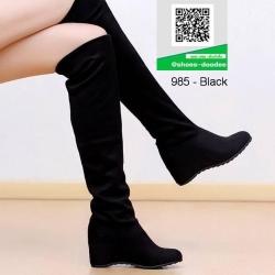 รองเท้าบูทยาวสีดำ คลุมเข่า พับได้ (สีดำ )