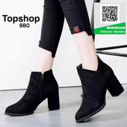 รองเท้าบูทสั้นสีดำ หุ้มข้อ สไตล์เกาหลี (สีดำ )