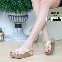 รองเท้าส้นเตารีด style fitflop แบบคีบ F1110-GLD [สีทอง]