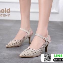 รองเท้าส้นสูงเปิดส้น รัดข้อ B3715-11-GLD [สีทอง]