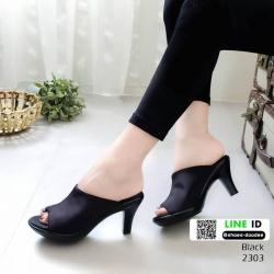 รองเท้าส้นสูงหน้าเต็ม พื้น pu หนังลื่นๆ 2303-ดำ [สีดำ]