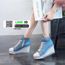 รองเท้าผ้าใบหุ้มข้อนำเข้าเสริมส้น วัสดุผ้าแคนวาส YNB-6805-BLUJ [สียีนส์]
