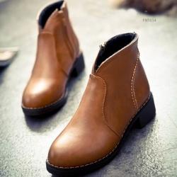 รองเท้าบู้ท ทรงสั้นหุ้มข้อหนังนิ่ม (สีน้ำตาล)