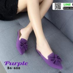 รองเท้าส้นเตี้ย แบบสวม เปิดส้น B6-608-PUR [สีม่วง]