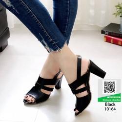 รองเท้าส้นสูงรัดส้น 10164-ดำ [สีดำ]
