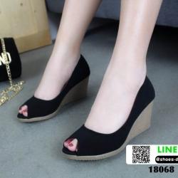 รองเท้าคัชชูส้นเตารีด 18068-BLK [สีดำ]