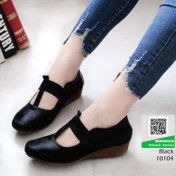 รองเท้าสไตล์ Loafer ใส่ยางยืด แบบที่สาวๆรีเควส 10104-ดำ [สีดำ]