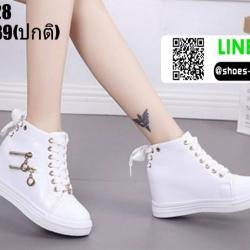 รองเท้าผ้าใบหุ้มข้อเสริมส้น งานนำเข้า100% ST128-WHI [สีขาว]