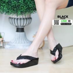 รองเท้าส้นเตารีด style fitflop แบบคีบ F1110-BLK [สีดำ]