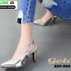 รองเท้าส้นสูงหัว แหลมรัดส้น B29-005-GLD [สีทอง]