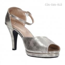 รองเท้าส้นสูงรัดส้น เปิดโชว์นิ้วเท้า (สีทอง )