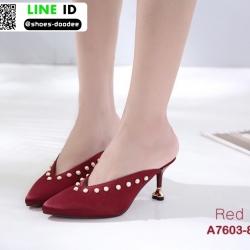 รองเท้าส้นเข็มเปิดส้น ผ้าซาติน แต่งมุข A7603-8-RED [สีแดง]