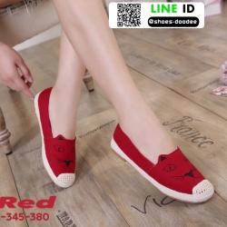 รองเท้าผ้าใบแคนวาส งานปักน่ารัก L-345-380-RED [สีแดง]