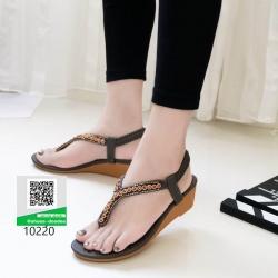 รองเท้าส้นเตารีด สายรัดส้นแบบยางยืด 10220-เทา [สีเทา]