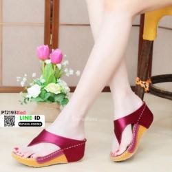 รองเท้าพียูเตารีด ผ้าซาติน PF2193-RED [สีแดง]
