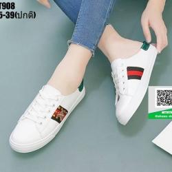 รองเท้าผ้าใบแบบสวมเปิดท้าย งานนำเข้า 100% ST908-GRN [สีเขียว]
