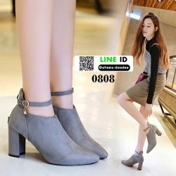 รองเท้าบูทหัวแหลม 0808-P-GRAY [สีเทา]
