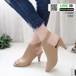 รองเท้าส้นสูงหน้าเต็ม งานสไตล์ปราด้า รัดข้อ 1202-ครีม [สีครีม]