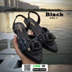 รองเท้าส้นเตี้ยรัดส้น สไตล์chanel 345-1-BLK [สีดำ]
