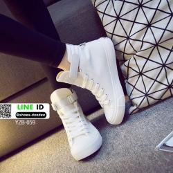 รองเท้าผ้าใบหุ้มข้อนำเข้า สไตล์เกาหลี YZB-059-WHI [สีขาว]